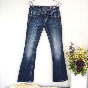 Miss me dark wash sequin embroidered bootcut jean